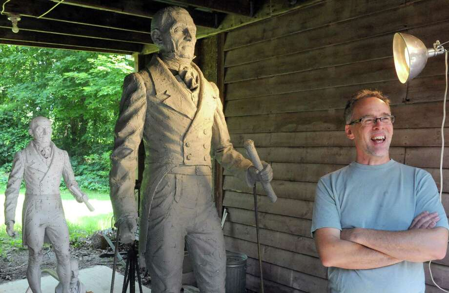 Sculptor Patrick Pigott is working on the statue of Col. Albert Pawling, the first mayor of the city of Troy, in a barn at his home on Friday July 3, 2015 in Halfmoon, N.Y. It's to be done in time for the city's bicentennial next year. (Michael P. Farrell/Times Union) Photo: Michael P. Farrell / 00032471A