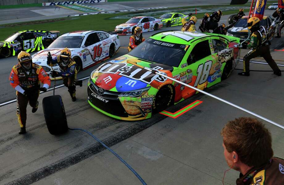 SPARTA, KY - JULY 11:  Kyle Busch, driver of the #18 M&M's Crispy Toyota, pits during the NASCAR Sprint Cup Series Quaker State 400 presented by Advance Auto Parts at Kentucky Speedway on July 11, 2015 in Sparta, Kentucky.  (Photo by Daniel Shirey/Getty Images) Photo: Daniel Shirey, Stringer / 2015 Getty Images