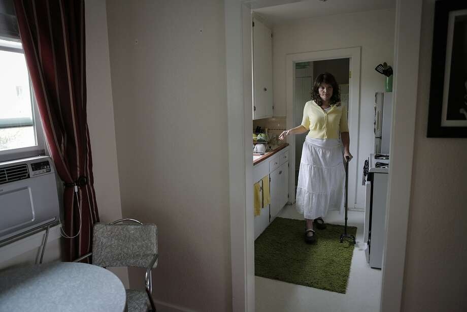 Christine Webster is seen in the kitchen of her Healdsburg home Friday, July 10, 2015. Her landlord, Trentadue Winery, recently told her that rent will soon increase by 65%. Webster can no longer work full-time because of the handicaps associated with being a stroke survivor. She won't be able to afford the heavily increased rent. Healdsburg is becoming unaffordable for many longtime residents as prices increase. Photo: Loren Elliott, The Chronicle