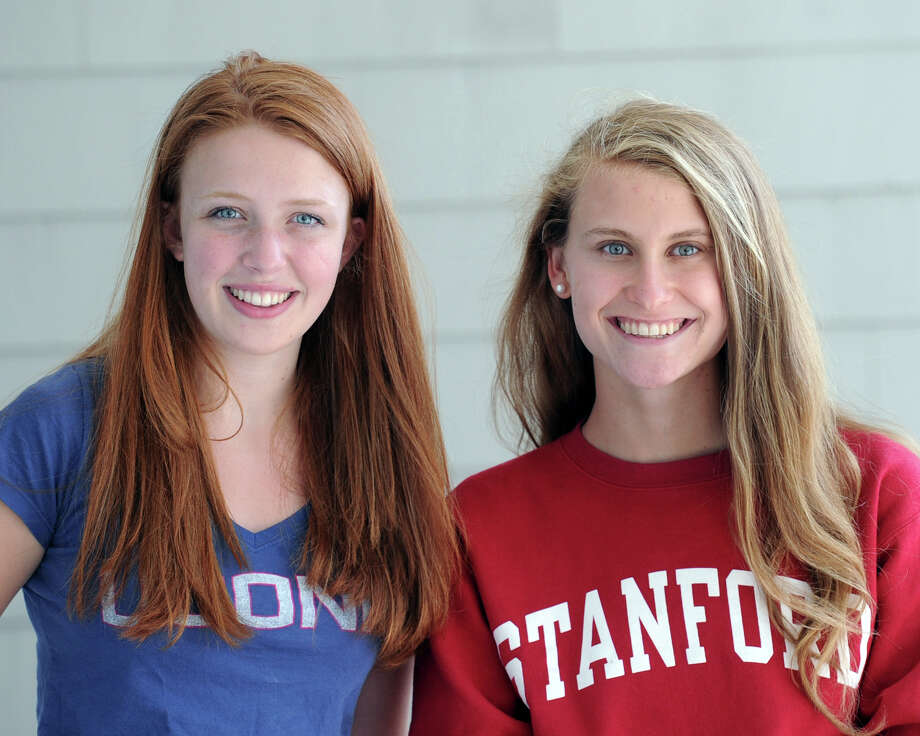 College-bound students Carly Polistina, left, a recent Greenwich High School graduate and Grace Isford, a recent Convent of the Sacred Heart graduate, at the Belle Haven Club in Greenwich on Friday. Polistina will be attending the University of Connecticut in the fall and Isford will be attending Stanford University also in the fall. Photo: Bob Luckey Jr. / Hearst Connecticut Media / Greenwich Time