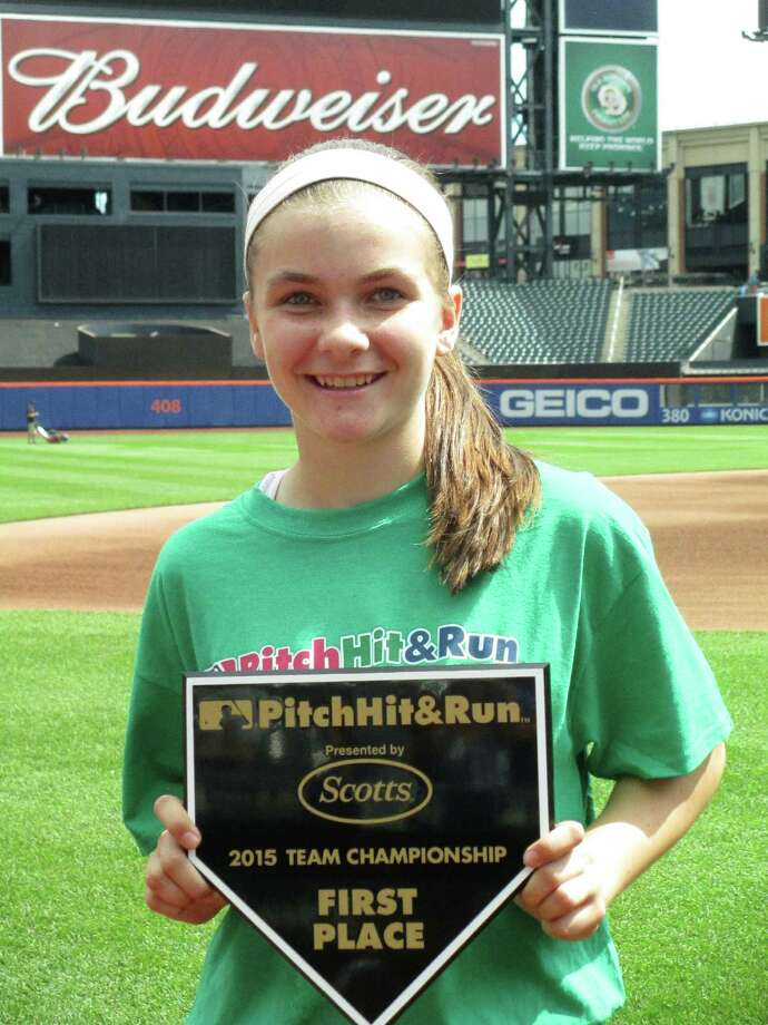 Fairfield's Kylee Holderied, 12, recently advanced into the national finals of Major League Baseball's Pitch, Hit and Run competition. She will compete in the finals at Cincinnati's Great American Ballpark on Monday. Photo: Fairfield Citizen /Contributed / Fairfield Citizen