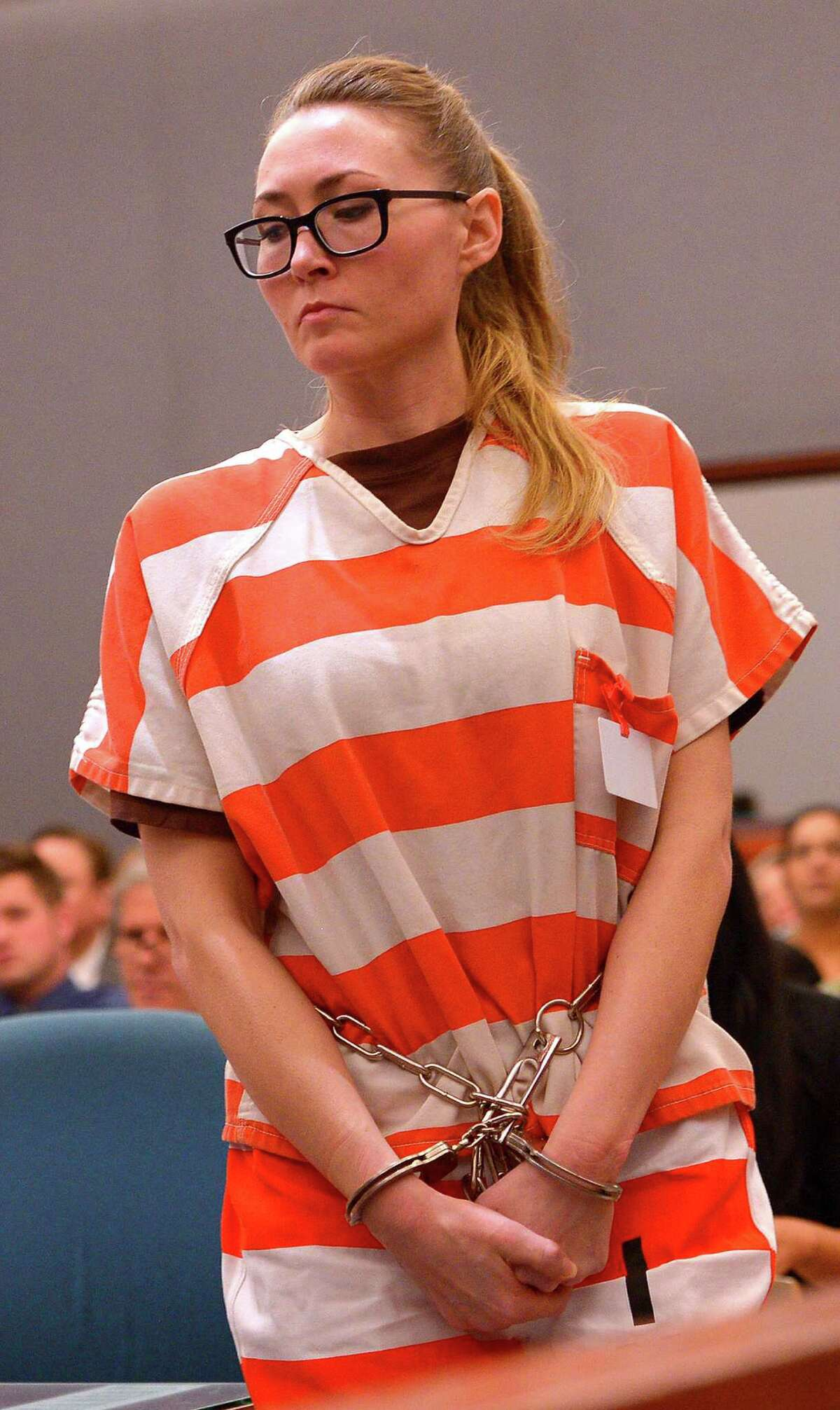 Brianne Altice appears in court during her sentencing Thursday, July 9, 2015, in Farmington, Utah. A judge sentenced Altice, a former high school English teacher who pleaded guilty to sexually abusing three male students, to at least two and up to 30 years in prison Thursday. (Leah Hogsten/The Salt Lake Tribune via AP, Pool)