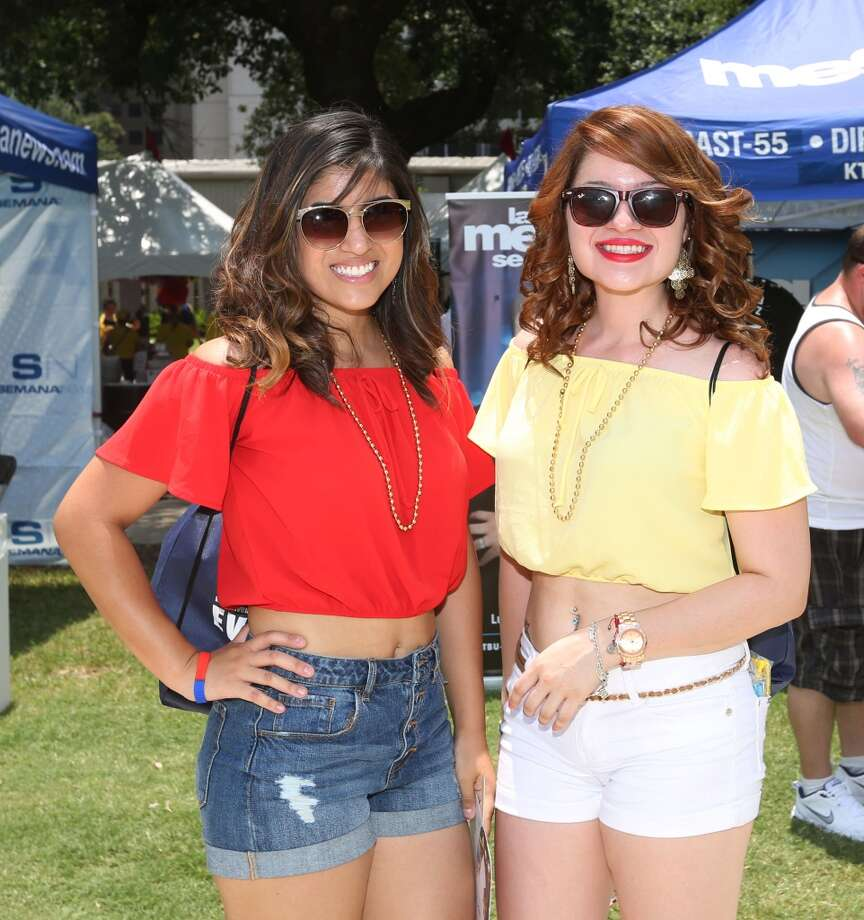 Fans pose for a photo at Colombian Fest 2015 in Sam Houston Park  Sunday, July 12, 2015, in Houston. The festival celebrates Columbia's Independence Day.( Jon Shapley / Houston Chronicle ) Photo: Houston Chronicle