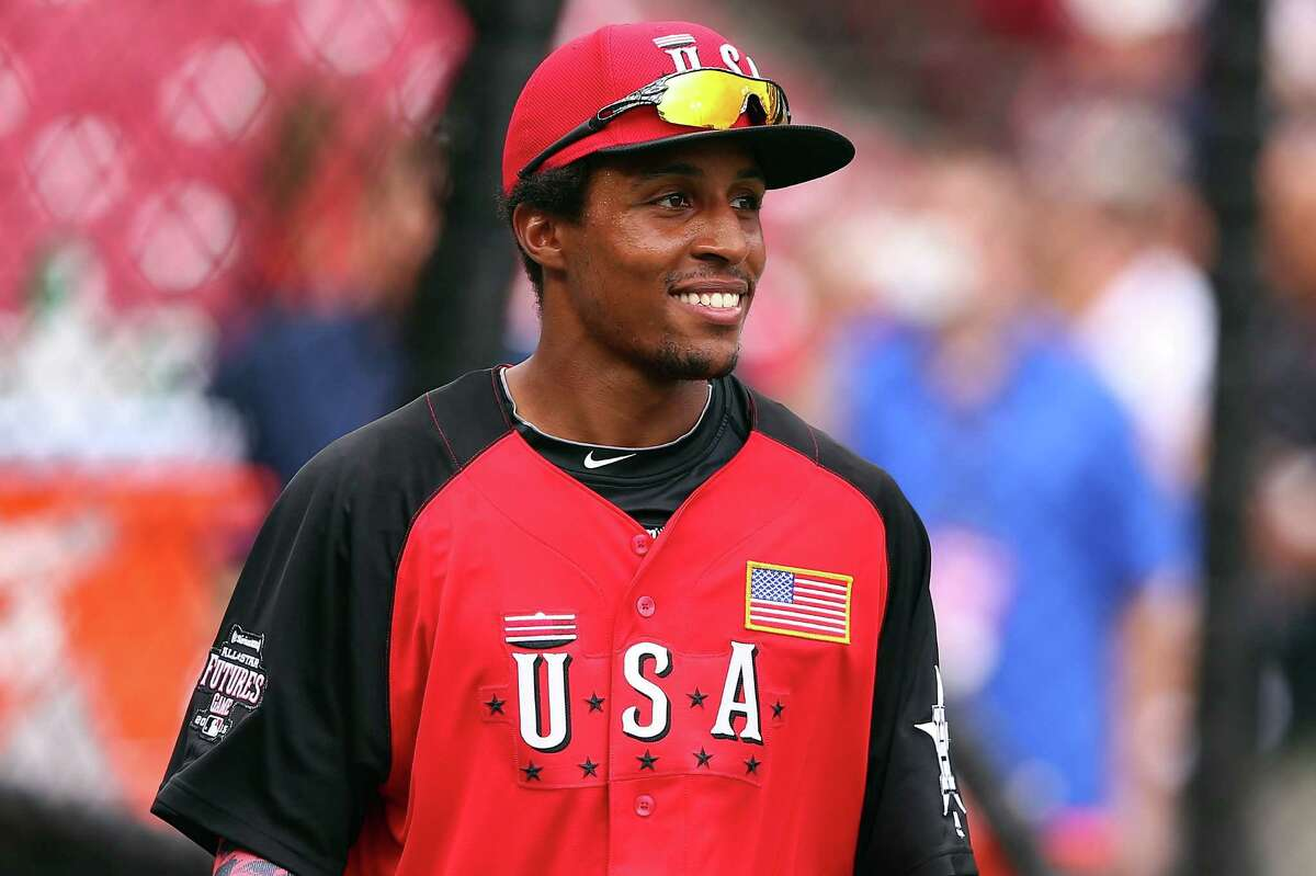 CINCINNATI, OH - JULY 12: Tony Kemp #7 of the U.S. Team looks on during batting practice ahead of the SiriusXM All-Star Futures Game at the Great American Ball Park on July 12, 2015 in Cincinnati, Ohio.