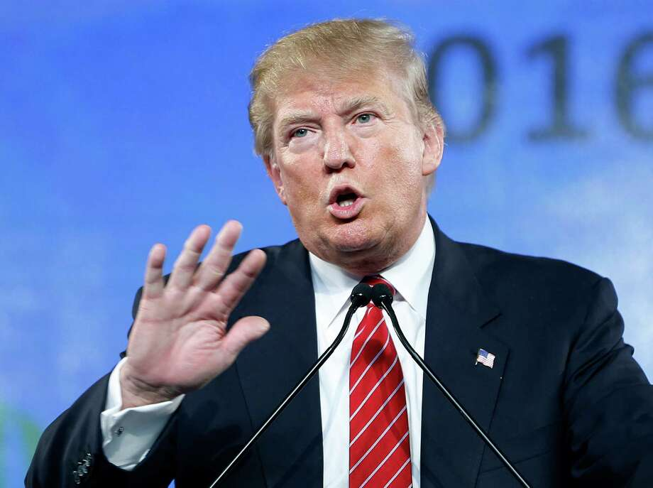 """FILE - In this Saturday, July 11, 2015, file photo, Republican presidential candidate Donald Trump speaks at FreedomFest in Las Vegas. Retired """"Late Show"""" host David Letterman appeared with comedians Martin Short and Steve Martin at their live comedy show on Friday, July 10, 2015, in San Antonio, where Letterman read """"Interesting facts about Donald Trump."""" (AP Photo/John Locher, File) Photo: John Locher, STF / AP"""