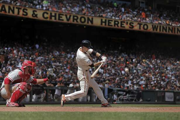 Matt Duffy (34) during an at bat in the seventh inning. The San Francisco Giants played the Philadephia Phillies at AT&T Park in San Francisco, Calif., on Sunday, July 12, 2015. The Giants won 4-2, and swept the series