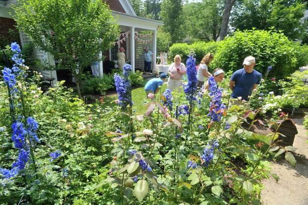 People make their way through the garden at 8 Pinewood Ave. on Sunday, July 12, 2015, in Saratoga Springs, N.Y.  This backyard garden was one of the locations for the Saratoga Secret Gardens Tour.  The Secret Gardens Tour is sponsored by Soroptimist International of Saratoga County as a fundraiser for the organization.  The Soroptimist International of Saratoga County is an organization made up of business and professional women who work to improve the lives of women and girls in the community.   (Paul Buckowski / Times Union) Photo: PAUL BUCKOWSKI / 00032580A