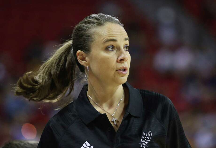 Becky Hammon coaches the San Antonio Spurs during an NBA summer league basketball game against the New York Knicks on Saturday, July 11, 2015, in Las Vegas. (AP Photo/Ronda Churchill) Photo: Ronda Churchill, FRE / Associated Press / FR170778 AP