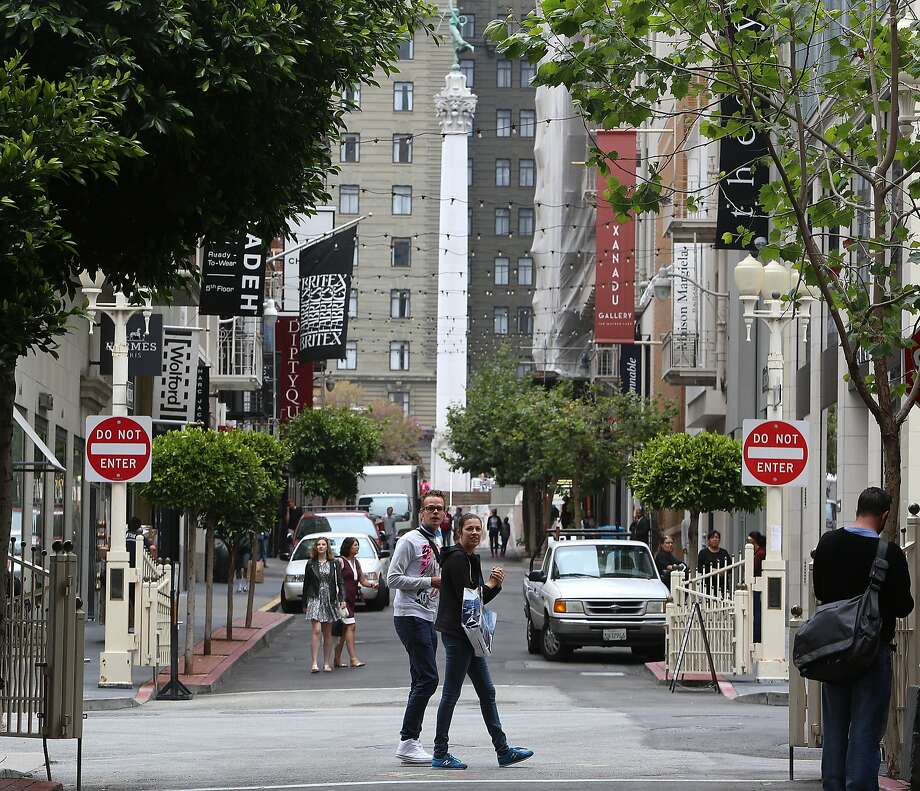 A view of Maiden Lane looking towards Union Square. Photo: Liz Hafalia, The Chronicle