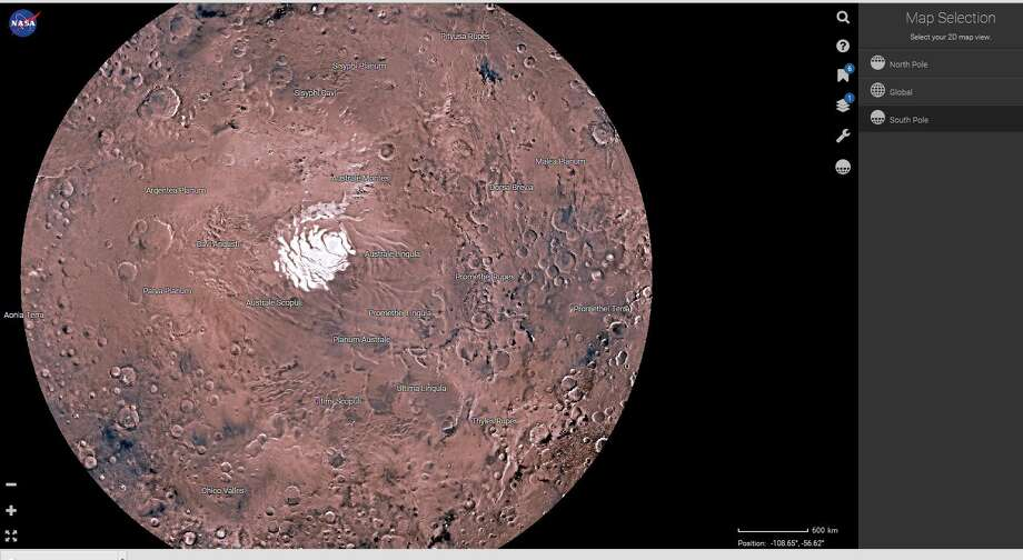NASA's new Mars Trek website lets the user explore the red planet in high resolution, in two or three dimensions. Tools on the site allow calculation of distances and elevations and give backgrounds of numerous milestones in Mars exploration. Photo: Christian, Carol, NASA
