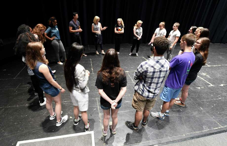 Instructor Sara Andreas works with students during the Broadway Camp of the School of the Performing Arts Monday, July 13, 2015, at Proctors Theatre in Schenectady, N.Y.   (Skip Dickstein/Times Union) Photo: SKIP DICKSTEIN / 00032467A
