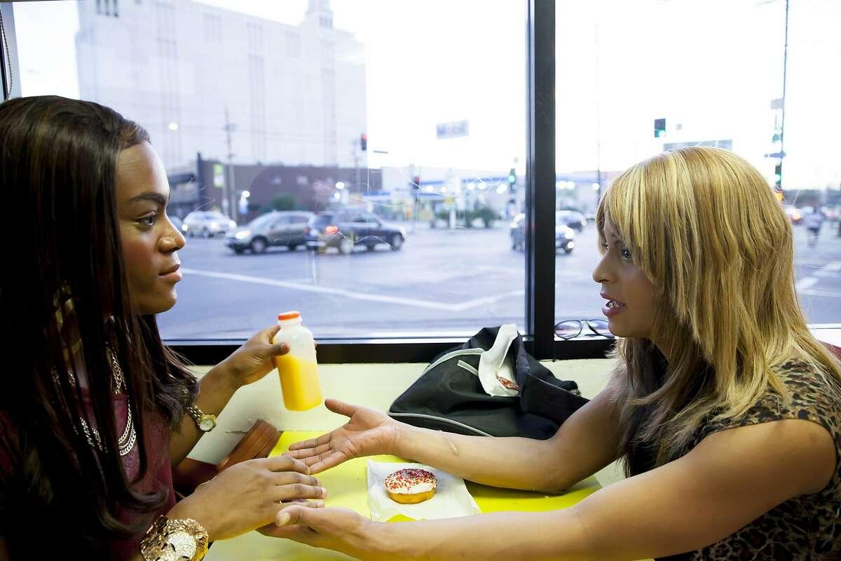 "Mya Taylor, left, and Kitana Kiki Rodriguez play Los Angeles prostitutes in ""Tangerine."""