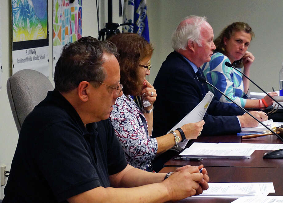 The Board of Education debated and discussed a five-year District Improvement Plan for several hours before finally approving it unanimously. Photo: Genevieve Reilly / Fairfield Citizen / Fairfield Citizen