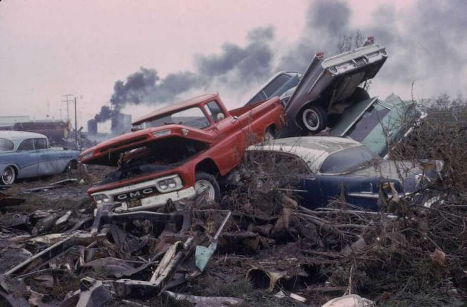 View of cars wrecked cars in a tsunami caused by the 'Good Friday' earthquake, Crescent City, California, March 1, 1964. The earthquake, one of the strongest recorded worldwide, struck Prince William Sound, south of Alaska, while the resulting tsunamis reached Crescent City, more than 1500 miles away. Photo: Nat Farbman, Time & Life Pictures/Getty Image