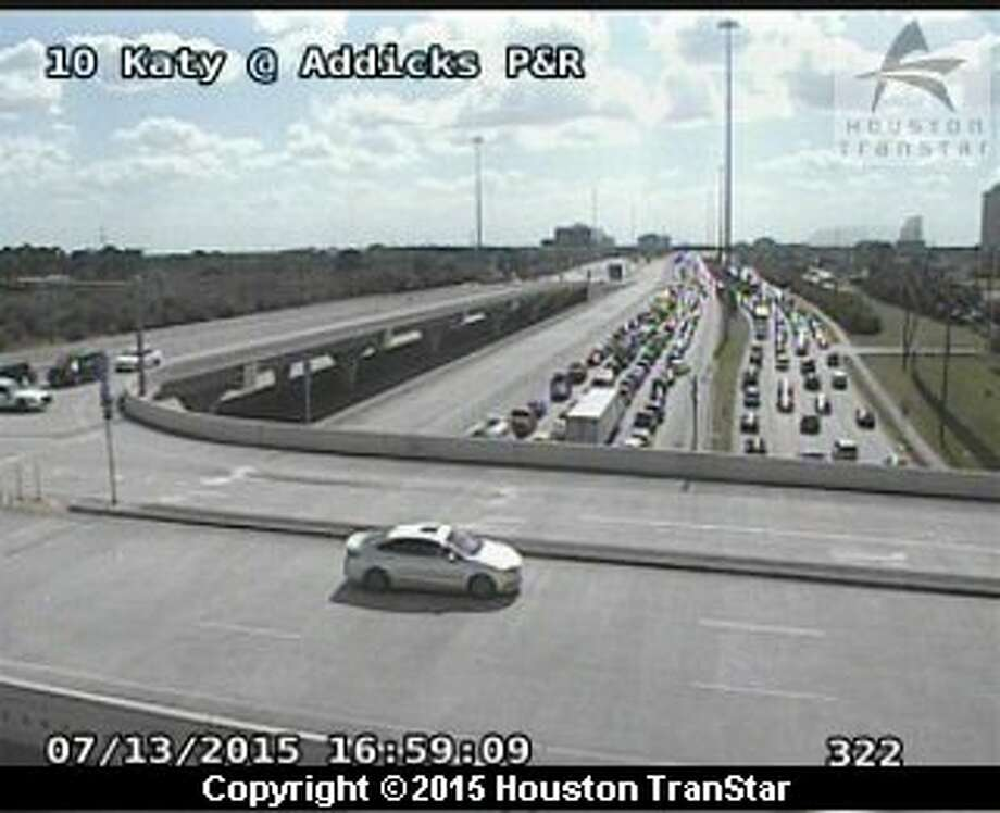 A three vehicle accident on the managed lanes of the Katy Freeway near State Highway 6 is blocking rush hour traffic headed west from downtown toward the Katy area. Photo: Houston TranStar