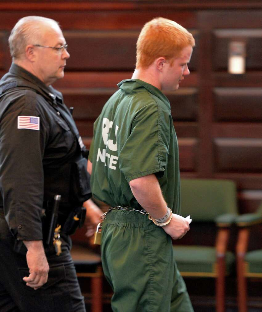Defendant Brendan Hoffman is led from the courtroom after his sentencing on DWI related fatal crash which killed his best friend Chris Baker Friday afternoon, April 25, 2014, at Rensselaer County Court in Troy, N.Y. (Skip Dickstein / Times Union archive)