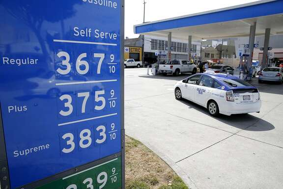 High gas prices at a gas station in San Francisco, California, on Monday, July 13, 2015. Gas prices in California have spiked by 50 cents since Thursday.