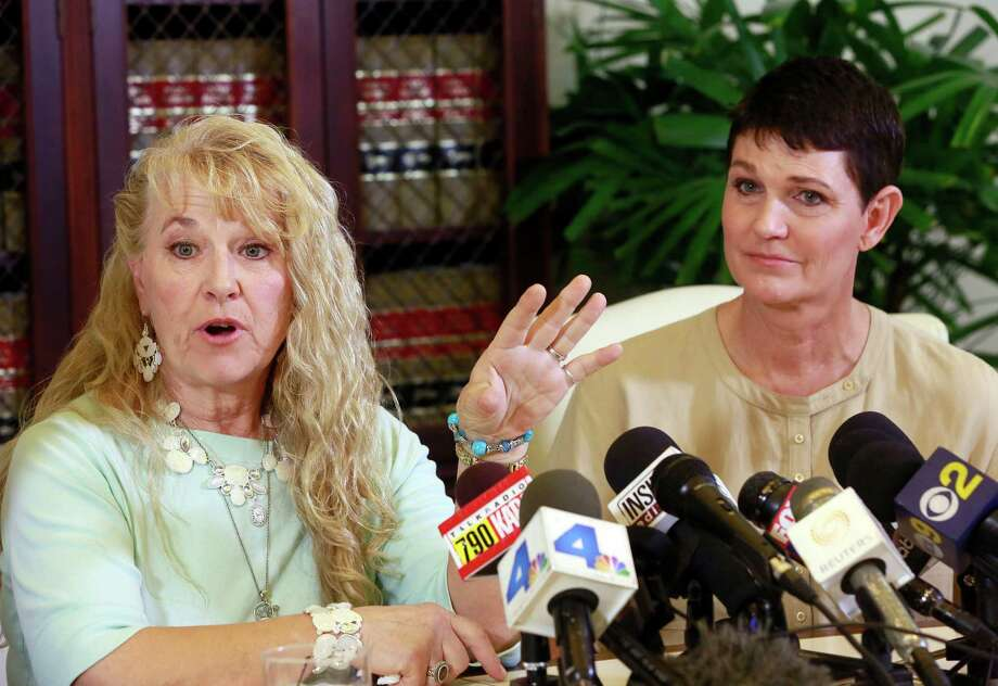 Rebecca Neal, left, and Beth Ferrier, two of Bill Cosby's accusers who testified against him in 2005, appear at a news conference in Los Angeles Monday. Photo: Nick Ut, STF / AP