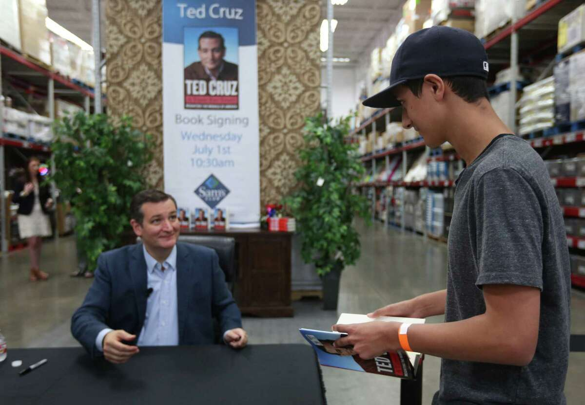 """Coby Grissom,17, approaches Sen. Ted Cruz during a book signing event at Sam's Club on Wednesday, July 1, 2015, in Houston. The new book """"A Time For Truth"""" is released today. ( Mayra Beltran / Houston Chronicle )"""