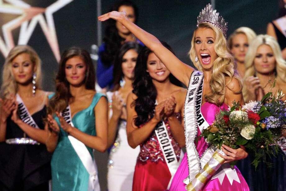 Miss Oklahoma Olivia Jordan celebrates after winning the 2015 Miss USA pageant in Baton Rouge, La., late Sunday night. Photo: Derick E. Hingle /Associated Press / FR 170358AP
