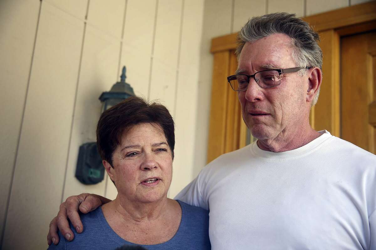 FILE - In this Thursday, July 2, 2015 file photo, Liz Sullivan, left, and Jim Steinle, right, parents of Kathryn Steinle, talk to members of the media outside their home in Pleasanton, Calif. Steinle's parents will be interviewed by Bill O'Reilly Monday, July 13, 2015, for a segment on his Fox News show. Steinle was walking along a San Francisco pier July 1 when she was killed by a gun allegedly fired by Juan Francisco Lopez-Sanchez, who is in the country illegally. (Lea Suzuki/San Francisco Chronicle via AP, File)