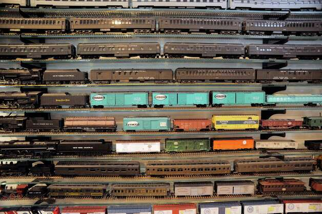 A view of some of the HO scale train cars seen here on Wednesday, July 8, 2015, in Delmar, N.Y.  These specific trains highlight the history of the New York Central System.  The trains are part of the huge collection of Gerry Winn.      (Paul Buckowski / Times Union) Photo: PAUL BUCKOWSKI / 00032481A