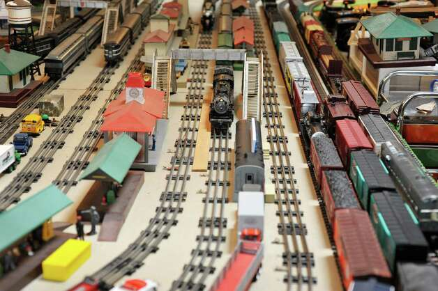 A view of some of the train cars and other items that make up the huge train set, seen here on Wednesday, July 8, 2015, in Delmar, N.Y.  The trains are part of the huge collection of Gerry Winn.    (Paul Buckowski / Times Union) Photo: PAUL BUCKOWSKI / 00032481A
