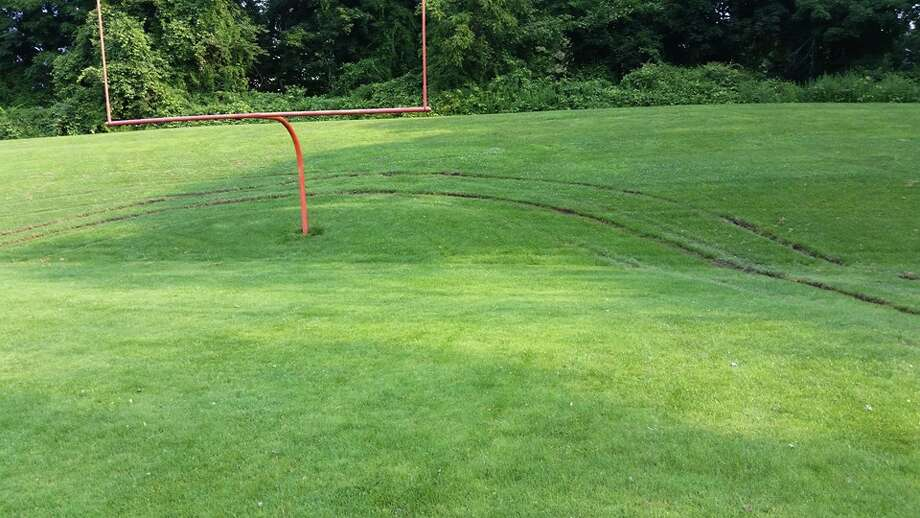 The school football field was vandalized over the weekend, Ridgefield police said. Photo: Contributed / Ridgefield Police Department