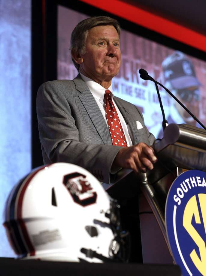 South Carolina coach Steve Spurrier speaks to the media at the Southeastern Conference NCAA college football media days, Tuesday, July 14, 2015, in Hoover, Ala. (AP Photo/Butch Dill) Photo: Butch Dill, Associated Press