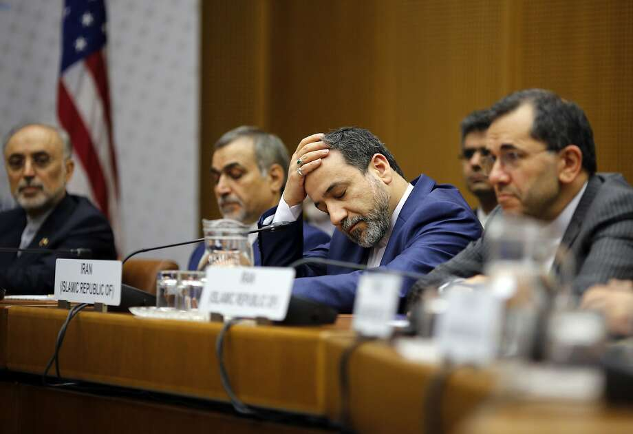 A member of the Iranian delegation reacts during a plenary session at the United Nations building in Vienna, Austria, Tuesday, July 14, 2015. (Carlos Barria/Pool via AP) Photo: Carlos Barria, Associated Press