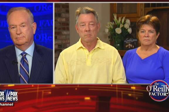 """This image provided by Fox News Channel shows, host Bill O'Reilly speaking with James Steinle and Elizabeth Sullivan, parents of Kathryn Steinle, during an interview by satellite for """"The O'Reilly Factor"""" on Monday, July 13, 2015. Steinle was walking along a San Francisco pier July 1, when she was killed by a gun allegedly fired by Juan Francisco Lopez-Sanchez, who is in the country illegally. The interview airs Monday at 5 p.m. PT/8 p.m. ET on the Fox News Channel.  (Fox News Channel via AP)"""