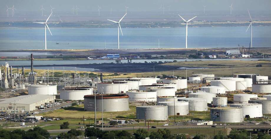 "Crude oil storage tanks are located near the Port Corpus Christi. ""In the second half, every tank and swimming pool in the world is going to fill, and fundamentals are going to kick in,"" BP CEO Robert Dudley said Wednesday. Photo: Express-News File Photo / ©2013 San Antonio Express-News"
