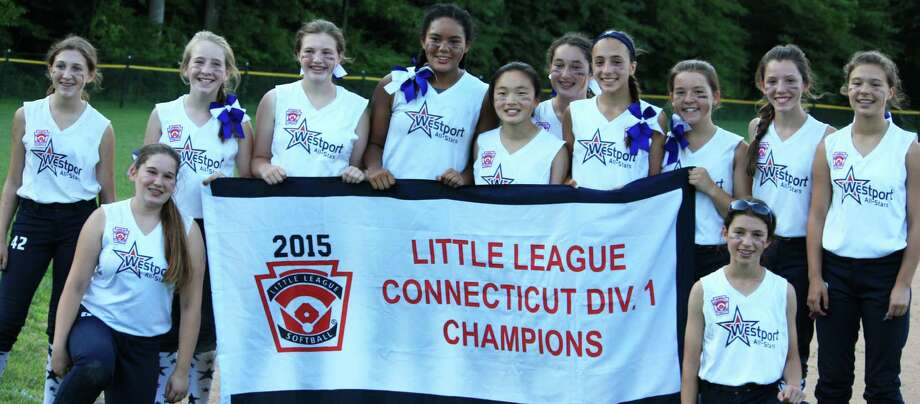 The Westport Little League softball team won the Division 1 title Monday with a 7-4 victory over North Branford. The champion team includes, from left, Charlotte Porzio, Lucy Kaplan, Jennifer Westphal, Reilly Caldwell, Milei Wyatt, Ellie Doran, Chloe Chaple, Sophia Alfero, Maisie Dembski, Aydan Moskowitz, Jillian Backus and Ali Green. Photo: Contributed Photo / Contributed Photo / Westport News