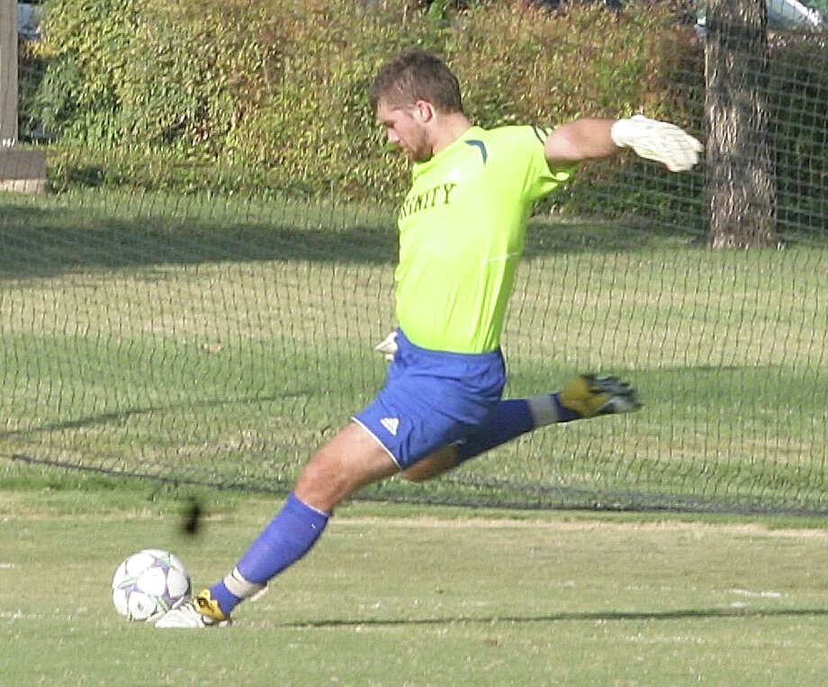 Scorpions goalkeeper Matt Cardone played collegiate soccer with the Trinity Tigers. Photo: Courtesy Trinity Athletics / / Trinity soccer goalkeeper Matt Cardone, 2012
