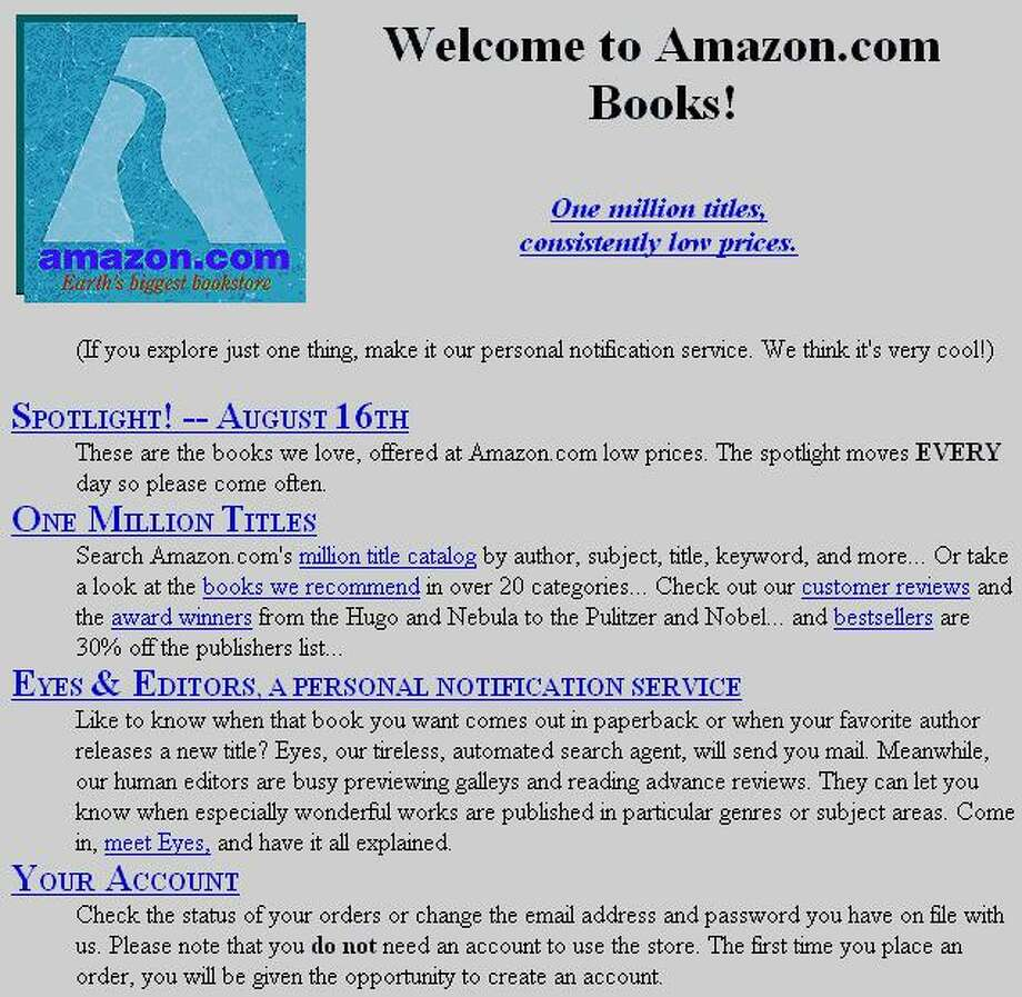 """Amazon's first Gateway page offered """"One million titles, consistently low prices,"""" in 1995. Click through to see the homepage through the years."""