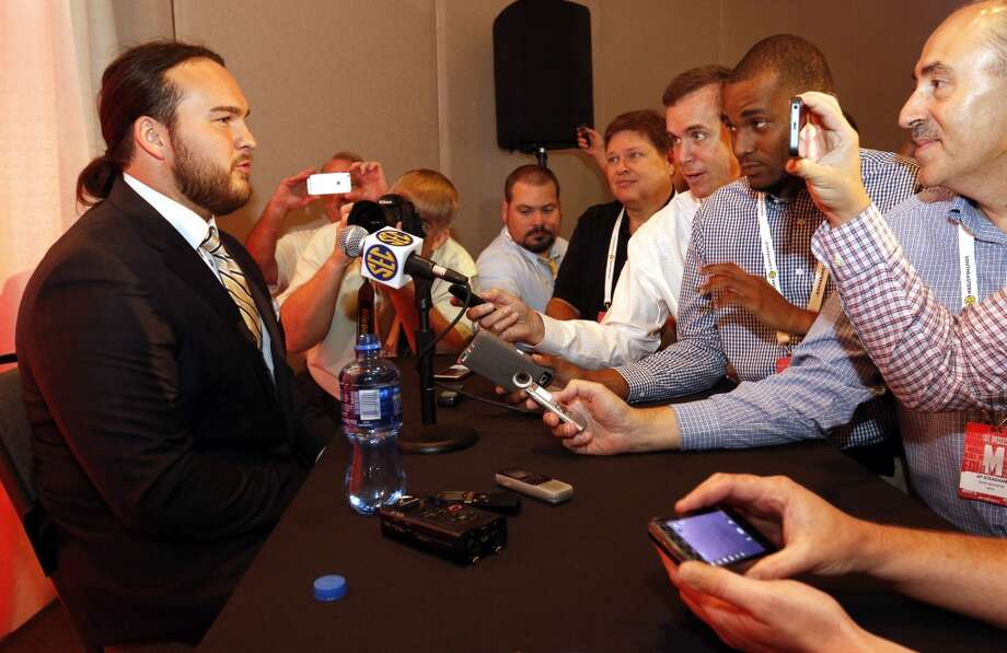 Texas A&M's Mike Matthews speaks to the media at the Southeastern Conference NCAA college football media days, Tuesday, July 14, 2015, in Hoover, Ala. (AP Photo/Butch Dill) Photo: Associated Press