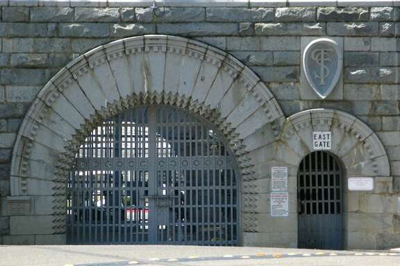 "The east gate of Folsom Prison, immortalized in Johnny Cash's signature hit ""Folsom Prison Blues."" The museum sells posters of photographs from Cash's visit to the facility."