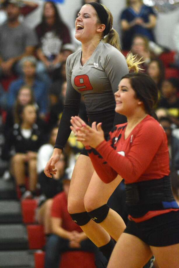 Huffman Hargrave seniors Brittani Hashagen (9) and Monica Shelton are hoping to keep the good times going with the Falcons. Photo: Jerry Baker, Freelance