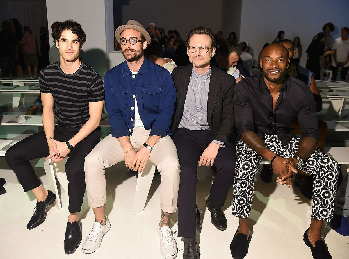 NEW YORK, NY - JULY 14: (L-R) Darren Criss, Joshua Sasse, Tyson Beckford and Christian Slater attend the Todd Snyder fashion show during New York Fashion Week Men's S/S 2016 at Skylight Clarkson Sq on July 14, 2015 in New York City. (Photo by Michael Loccisano/Getty Images)