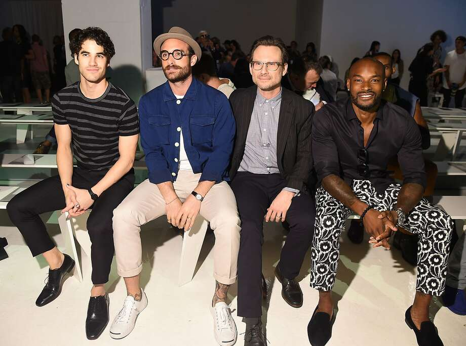 NEW YORK, NY (L-R) Darren Criss, Joshua Sasse, Tyson Beckford and Christian Slater attend the Todd Snyder fashion show during New York Fashion Week Men's S/S 2016 at Skylight Clarkson Sq on July 14, 2015 in New York City. Photo: Michael Loccisano, Getty Images