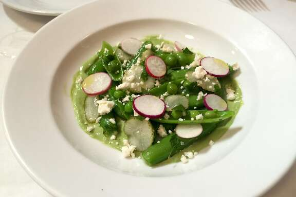 sugar snap peas with truffled goat cheese and Green Goddess dressing at the Elite Cafe (July 2015)