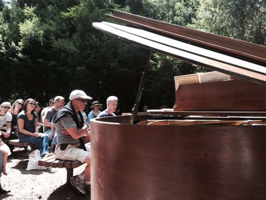 Pianist plays Mozart in Botanical Garden Redwood Grove, as audience basks in sun and listens