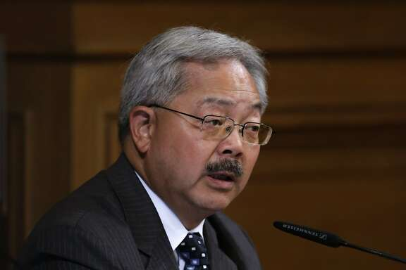 Mayor Ed Lee comments to the board as the San Francisco Board of Supervisors prepared to vote on competing measures to regulate Airbnb and other short-term rental services in San Francisco, Calif., on Tues. July 14, 2015.