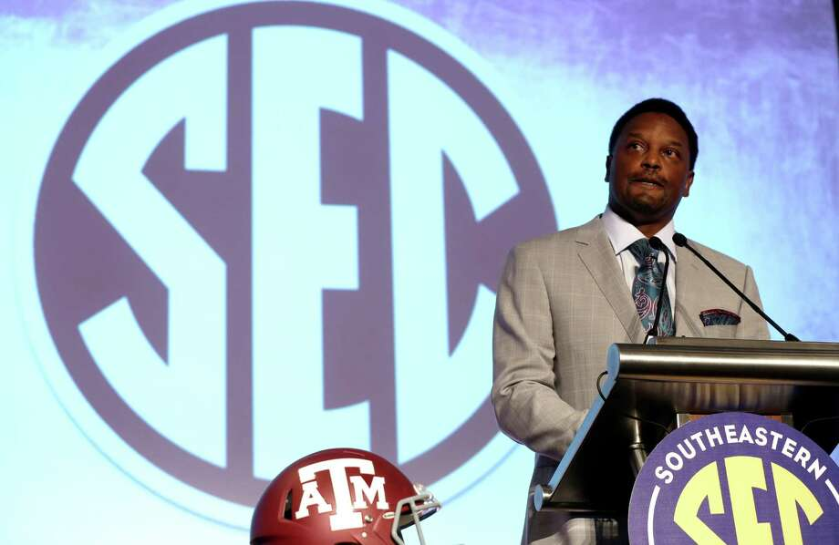 Texas A&M coach Kevin Sumlin speaks to the media at the Southeastern Conference media days, Tuesday, July 14, 2015, in Hoover, Ala. Photo: Butch Dill /Associated Press / FR111446 AP