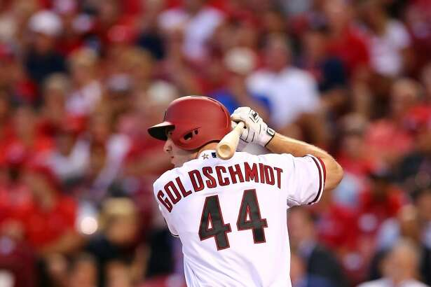 CINCINNATI, OH - JULY 14:  National League All-Star Paul Goldschmidt #44 of the Arizona Diamondbacks bats in the second inning against American League All-Star Dallas Keuchel #60 of the Houston Astros during the 86th MLB All-Star Game at the Great American Ball Park on July 14, 2015 in Cincinnati, Ohio.  (Photo by Elsa/Getty Images)