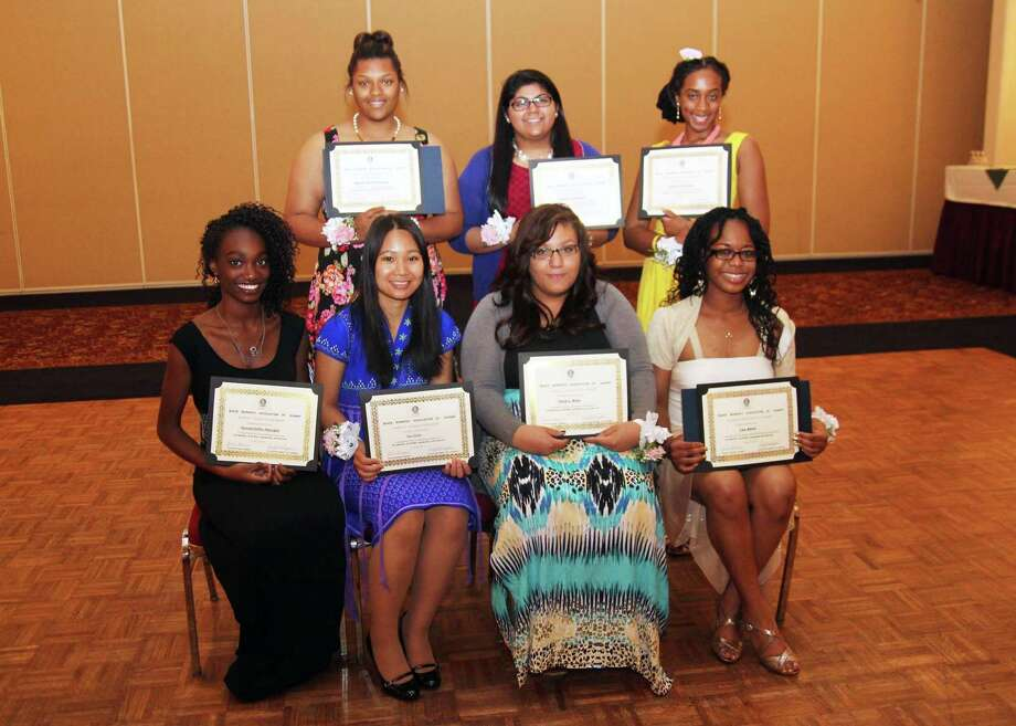 The Black Women's Association of Albany held a scholarship program on June 20 at the Desmond Hotel honoring eight outstanding students who will each receive $1,000 once they enroll in college. Shown are, front row: Ife Adelugba of Shenendehowa, Naw Eh Ku of Albany High,Tiara Kelly of Lansingburgh and  Lea Alford of Guilderland. Back row are Myanah Pierre-Louis of Colonie Central, Caitlin Chauhan of Bethlehem Central and Daveisha Richards of Albany High. (Submitted by Yvonne Abunaw)