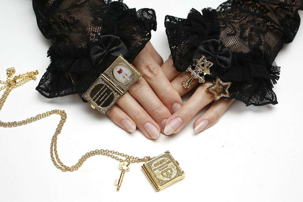 Left to right--Ex Libris the Dolls gold ring and necklace, Juno's bouquet cross ring, and Harmonia twinkle star ring seen at Baby-the-Stars-Shine-Bright at the New People J-Pop Center in San Francisco, Calif., on Monday, July 13, 2015.