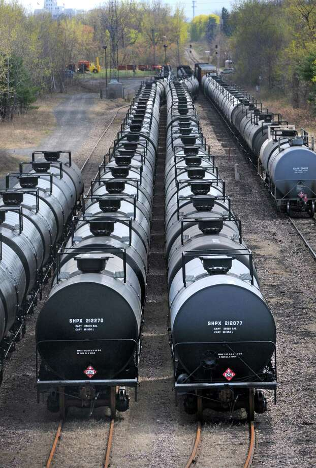 Oil train cars seen from the Route 155 bridge on Thursday April 30, 2015 in Watervliet, N.Y. (Michael P. Farrell/Times Union) Photo: Michael P. Farrell / 00031671A