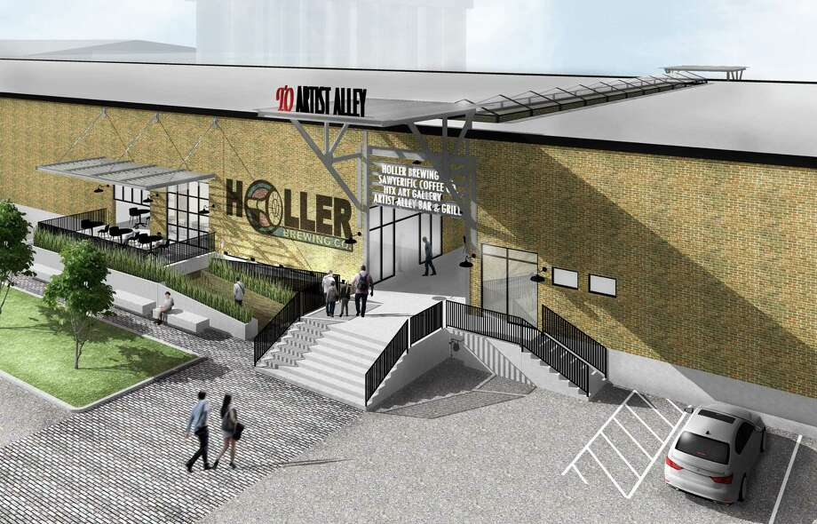 A rendering of Lovett Commercial's plan for a warehouse building that will have a breezeway to Artist Alley. The tenants will include the new Holler Brewing Co. Photo: Lovett Commercial