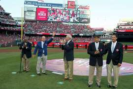 Honored before the game as the greatest living players: Hank Aaron (left), Johnny Bench, Sandy Koufax and Willie Mays.